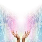 Healing hands emanating healing energy.